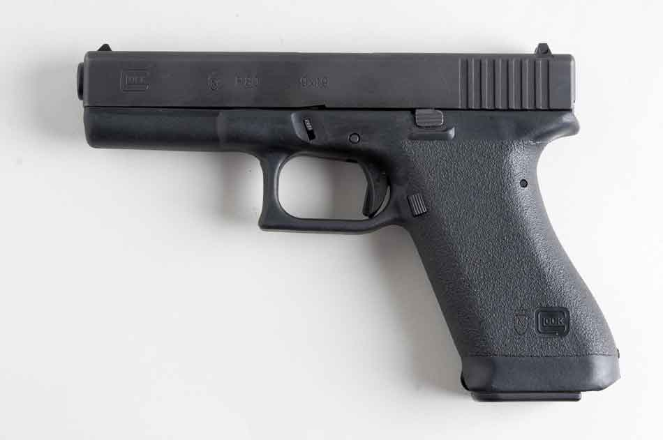Glock 17 lying on its side