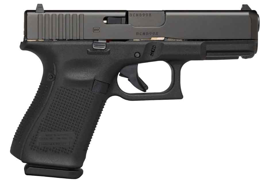 Glock 19 lying on its side
