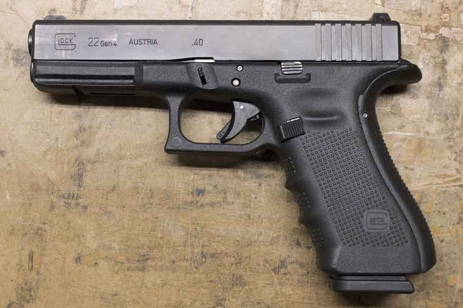 Glock 22 lying on its side
