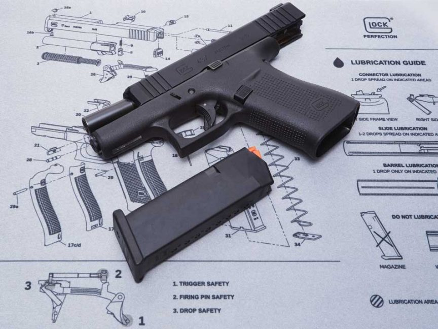 A disassembled Glock