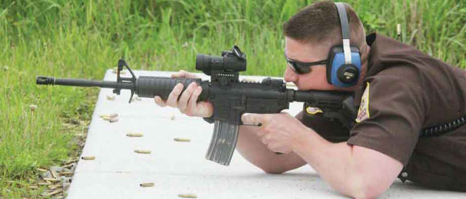 Side view AR15 on outdoor range