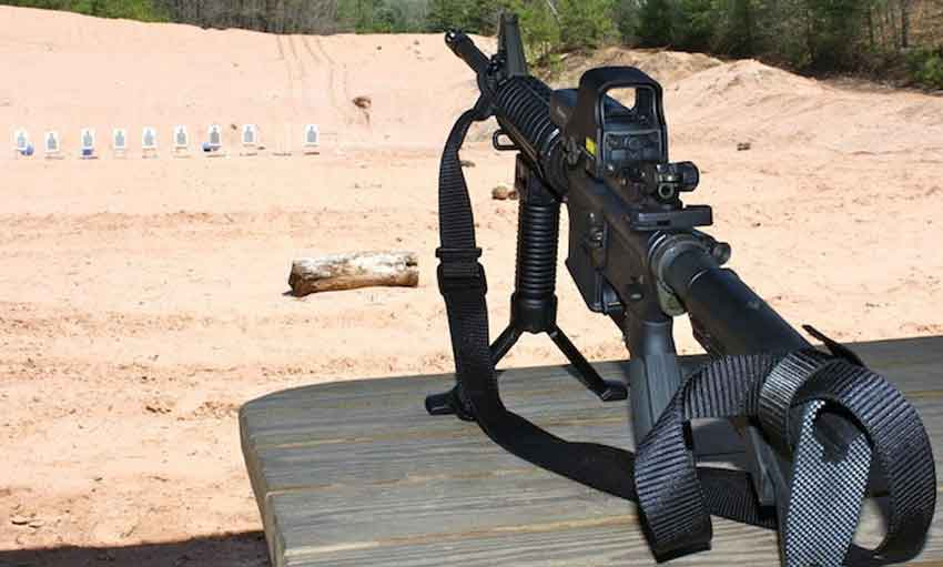 An Ar15 on the outdoor range with bipod