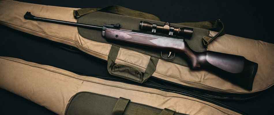 a rifle on a rifle bag