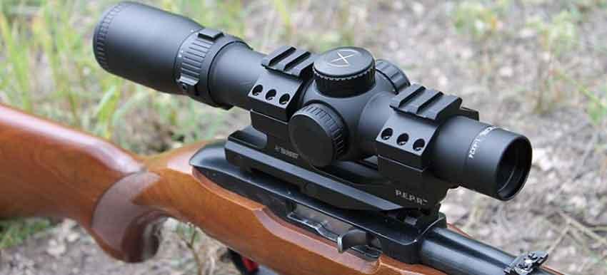A rifle scope close up