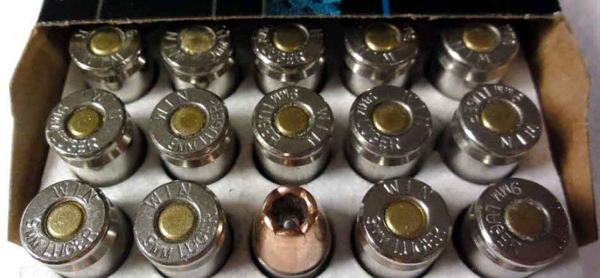 close up of 9mm in box