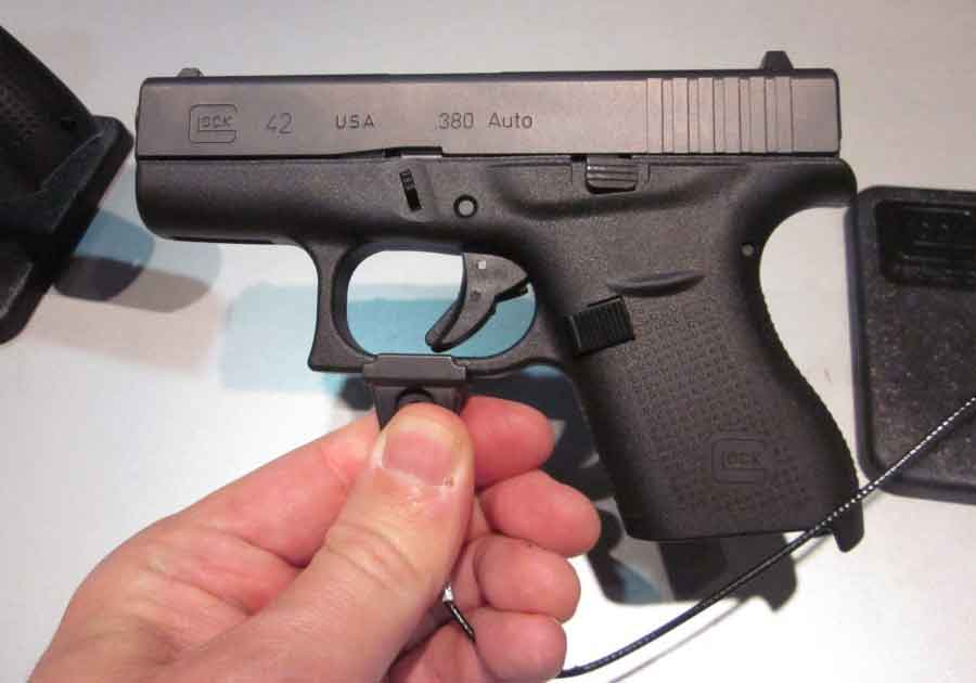 A Glock 42 held up