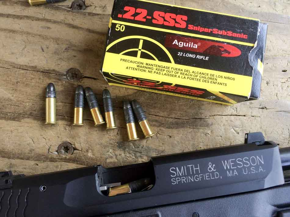Aguila 22lr sss sniper ammunition with smith and wesson