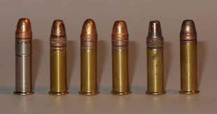 6 standing 22lr cartridges