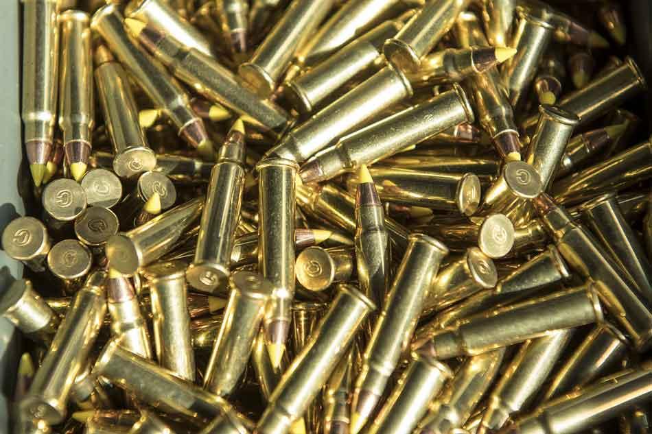 a pile of 22lr ammunition close up