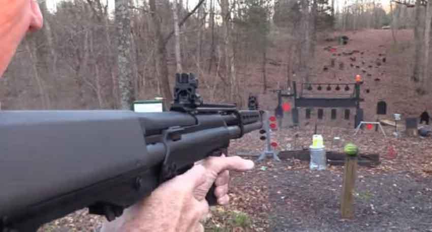 The Kel-Tec KSG-25 shotgun parallax view down the range