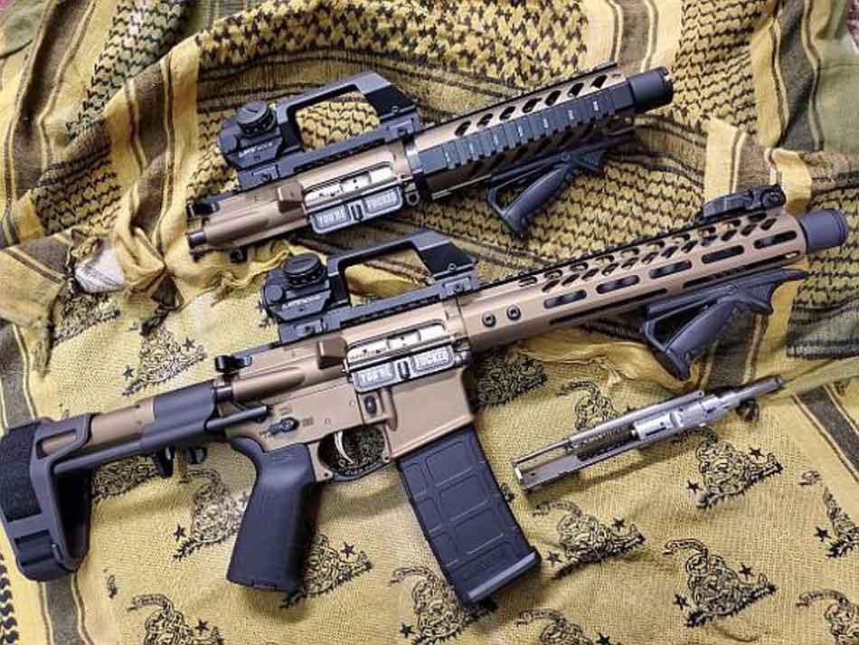 a selection of AR-15s