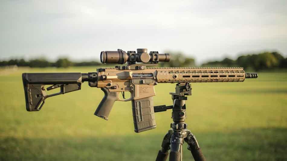an AR-10 on a tripod