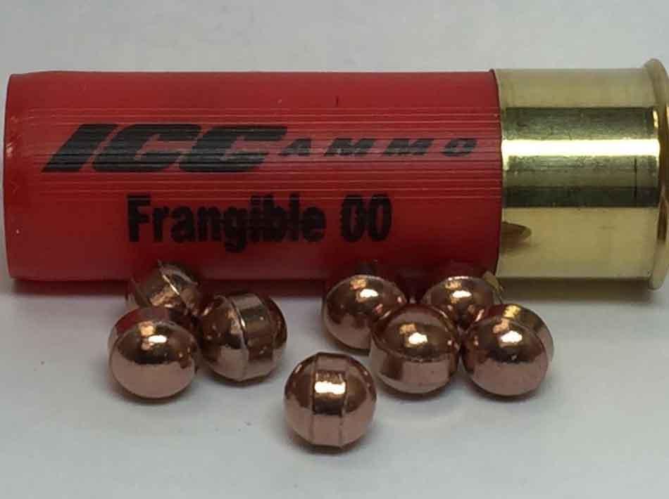 a close up of a 12 gauge buckshot cartridge with pellets