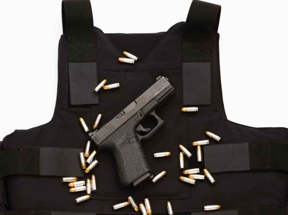 a bulletproof vest, a glock and some ammo