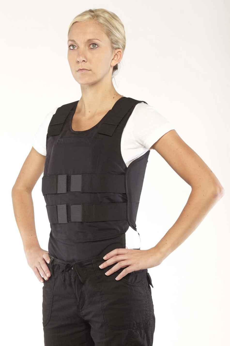 a female wearing a bulletproof vest
