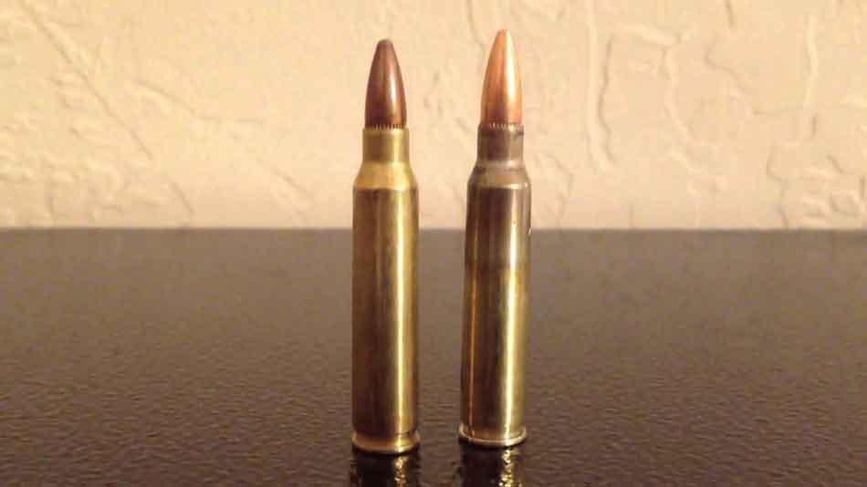 a 556 NATO round standing next to a 223 Remington