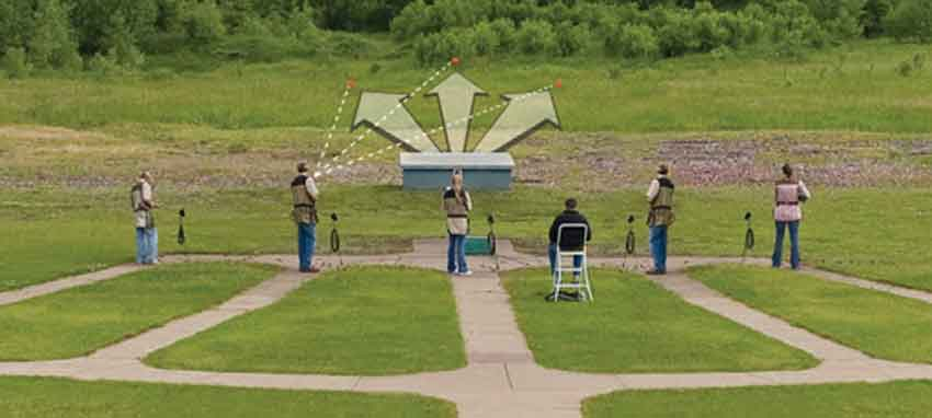 a rear view of a trapshooting layout