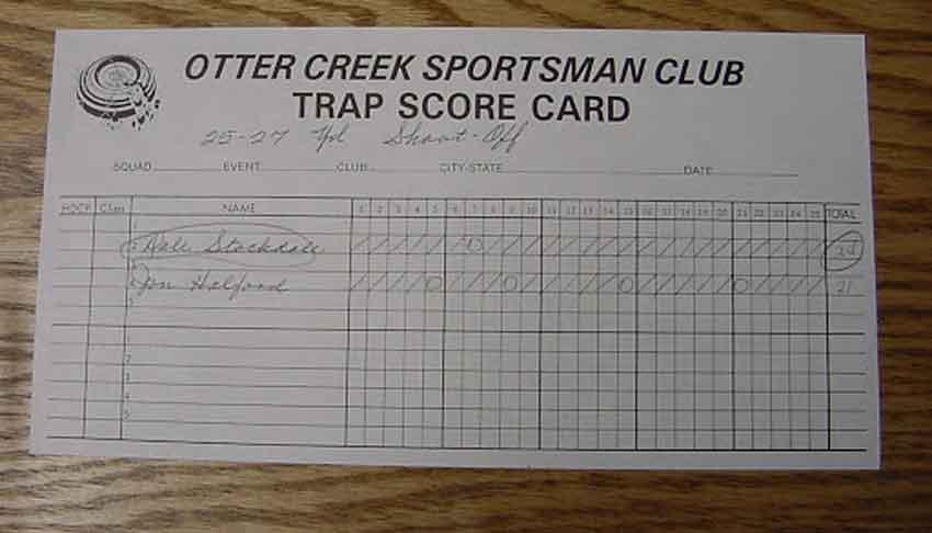a trapshooting scorecard