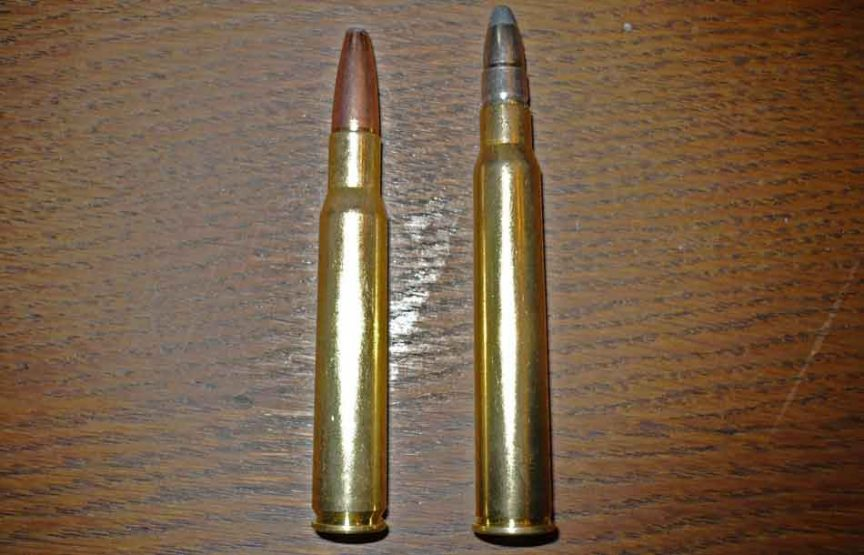 2 x .30-06 rounds side by side