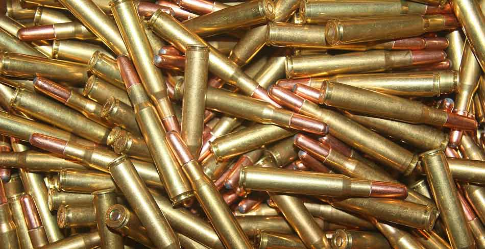 A pile of. .30-06 Springfield rounds