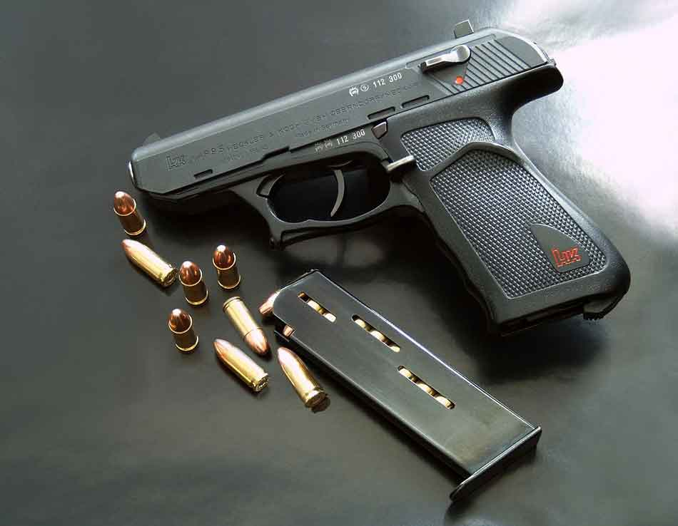 a pistol with 9mm rounds