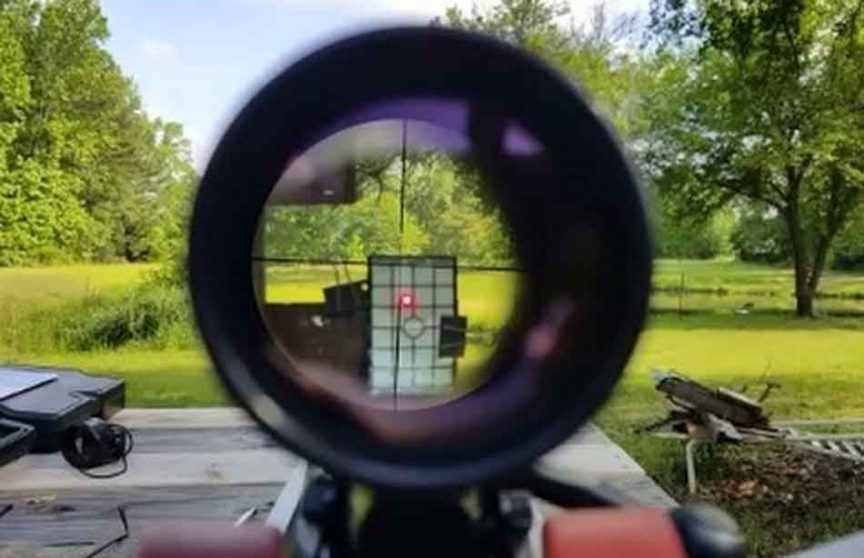 a view through a scope at a target