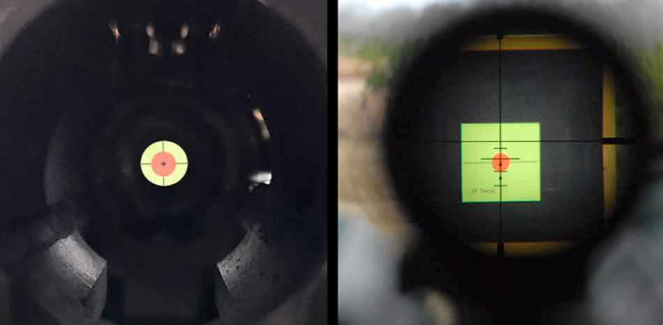 a comparison between a bore view and the scope view