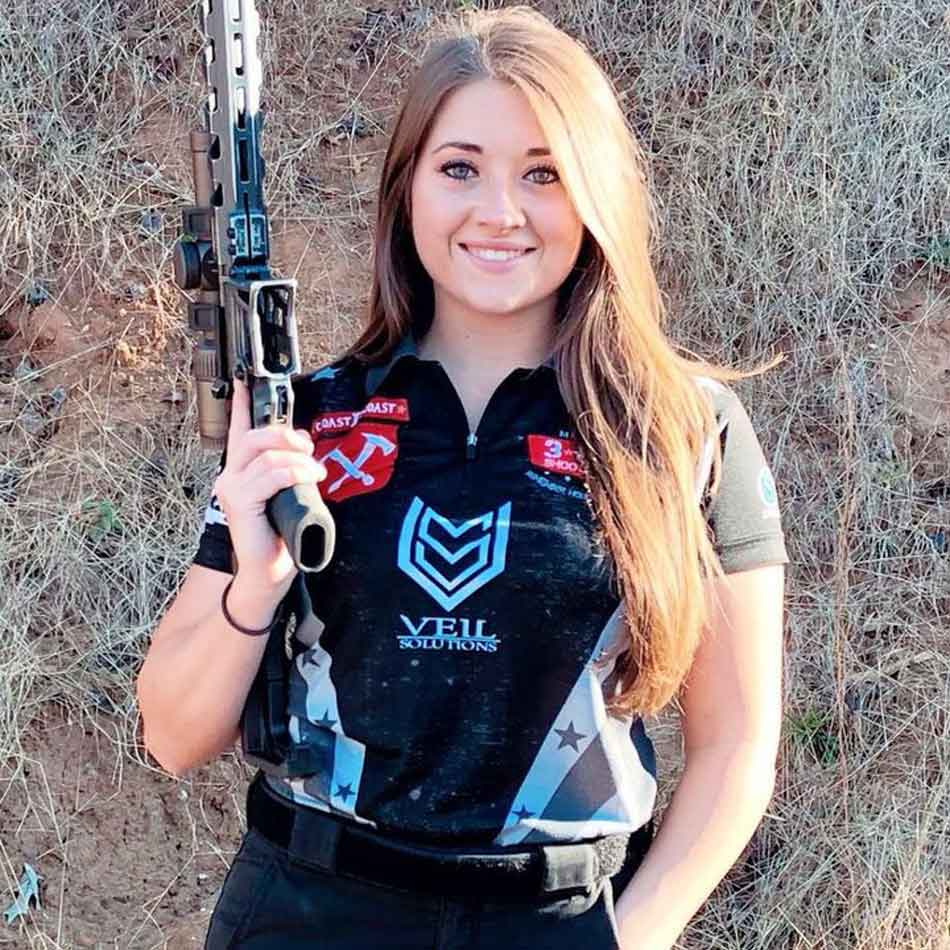 a very young lady with good trigger discipline