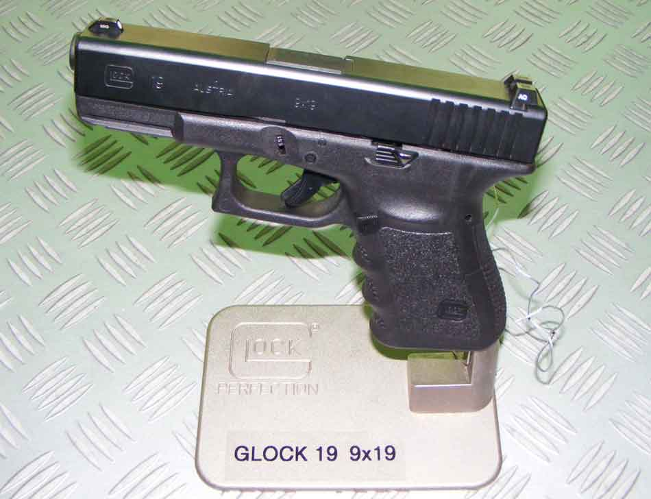 A Glock 19 on a stand