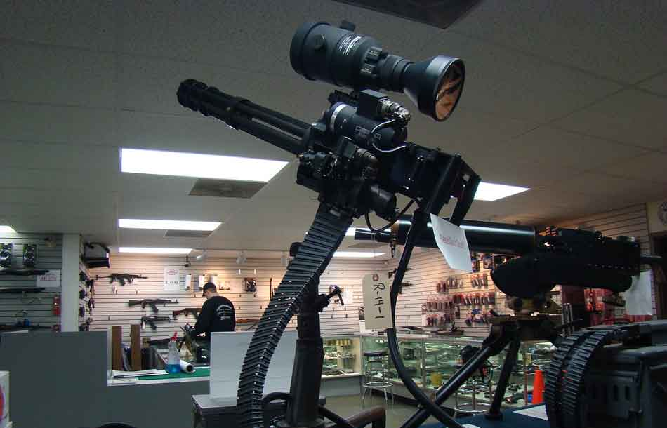 a minigun on a stand