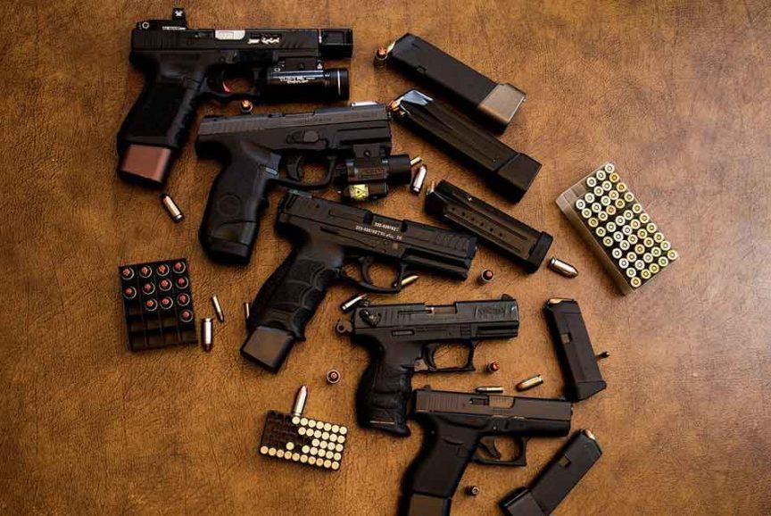 a collection of 9mm handguns